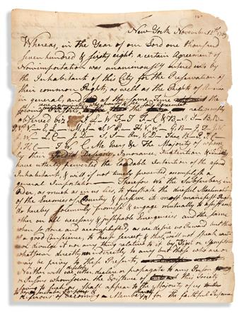 """(AMERICAN REVOLUTION--PRELUDE.) Pact to enforce New York's """"Agreement of Non-Importation"""" during the heyday of the Sons of Liberty."""