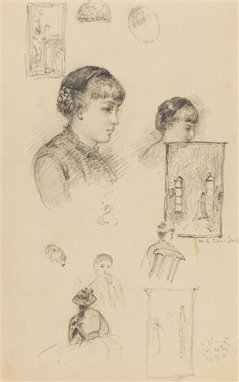 ALFRED THOMPSON BRICHER Sheet of Studies with Portraits of Women.