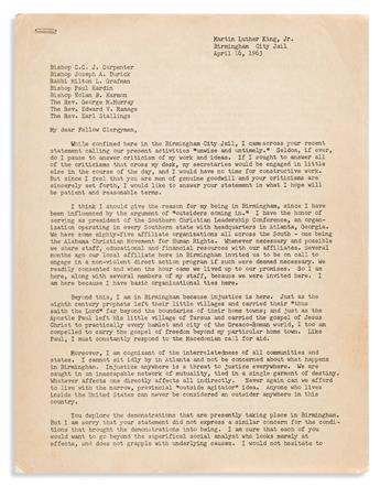 MARTIN LUTHER KING. Early draft of the Letter from Birmingham Jail.