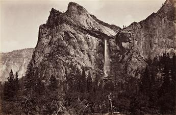 CARLETON E. WATKINS (1829-1916) The Bridal Veil and Cathedral Rocks from the Coulterville Trail.