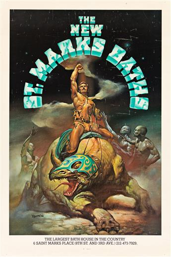 BORIS VALLEJO (1941- ).  THE NEW ST. MARKS BATHS. Circa 1980. 41x27 inches, 104x68½ cm. Official Graphic Arts International Union, Clev