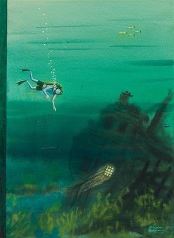 (THE-NEW-YORKER--COVER--SHIPWRECK)-CHARLES-ADDAMS-Scuba-Galleon
