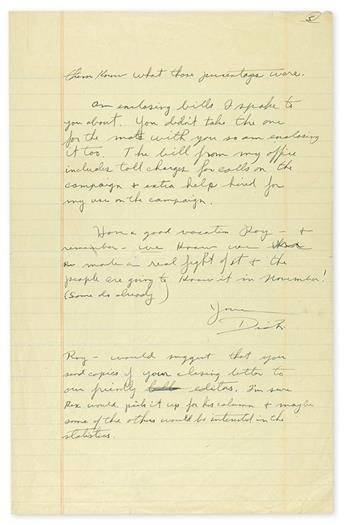NIXON, RICHARD M. Archive of 28 letters to Roy O. Day, including many Typed Letters Signed, Dick Nixon or Dick or RN, and an Auto