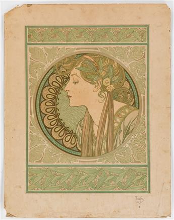 ALPHONSE MUCHA (1860-1939). [LAUREL & IVY]. Two decorative panels. 1901. Each 26x20 inches, 66x52 cm. [F. Champenois, Paris.]