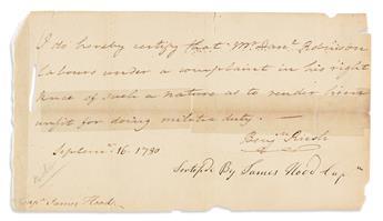 "(AMERICAN REVOLUTION.) RUSH, BENJAMIN. Brief Autograph Letter Signed, ""Benj'n Rush,"" to Captain James Hood:"