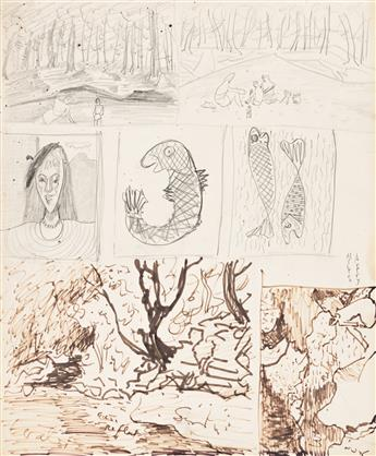 MILTON AVERY Sheet of Studies with Portrait, Fish and Landscape.