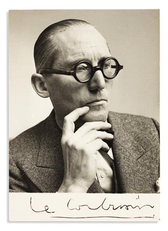LE CORBUSIER. Two items: Autograph Note Signed, with three small ink drawings * Photograph Signed.