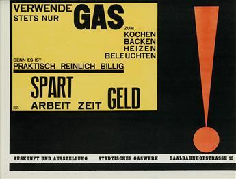 WALTER DEXEL (1890-1973).  VERWENDE STETS NUR GAS. 1924. 20x26¼ inches, 50¼x66½ cm.