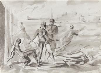 REGINALD MARSH Bathers at a Pier, New York * Bathers Swimming.