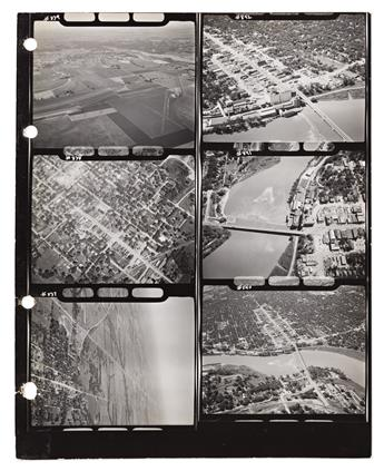 (AVIATION.) William Price. Set of contact sheets showing Route 40 by air from Atlantic City to San Francisco, with his camera.