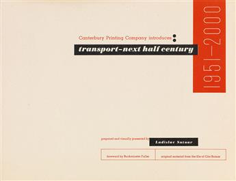 LADISLAV SUTNAR (1897-1976).  TRANSPORT NEXT HALF CENTURY. Book. 1950. 8¾x11 inches, 22¼x28 cm. Canterbury Printing Company, New York.