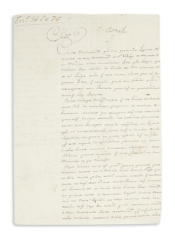 (CALIFORNIA.) Bautista de Anza, Juan. Letter investigating an Indian attack at San Diego.