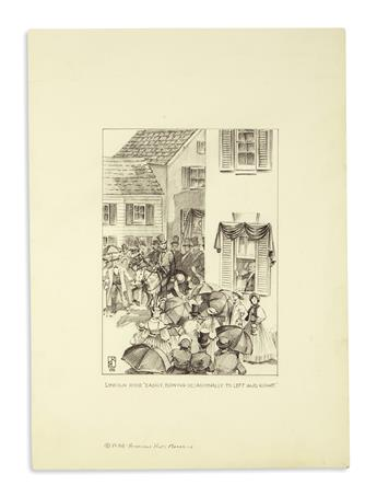 (PAINTINGS)-Pair-of-original-modern-magazine-illustrations-of-Lincoln