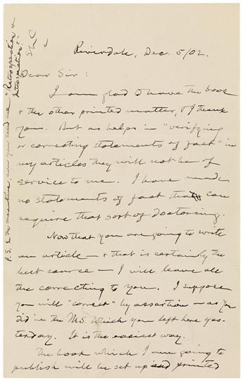MY IRREVERENCE & DISRESPECT ARE PRETTY EXCLUSIVELY FOR [MARY BAKER EDDY] MARK TWAIN. Autograph Letter Signe...