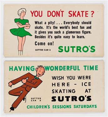 DESIGNERS UNKNOWN. SUTRO BATHS / [ICE SKATING.] Group of 9 trolley cards. Sizes vary, each approximately 11x21 inches, 28x53 cm.