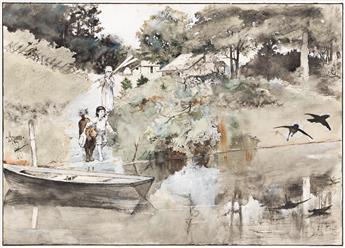 GEORGE BREHM (1878-1966) Children at the Pond. [CHILDRENS / CENTURY MAGAZINE]