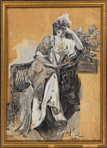 ALBERT BECK WENZELL (1864-1917) Geraldine was sitting there calmly reading, in the moment of her deadliest disdain.