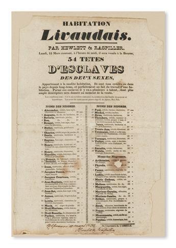 (SLAVERY AND ABOLITION---NEW ORLEANS.) Habitation Livaudais. Part Hewlett & Raspiller, Lundi Mars courant, a lheure de Midi ils sera v