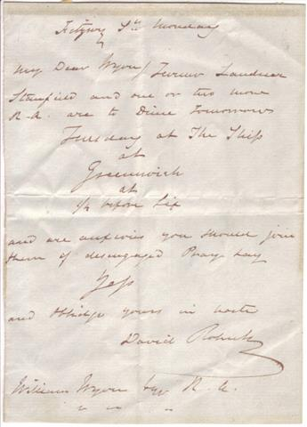 ROBERTS, DAVID. Autograph Letter Signed, to William Wynn,