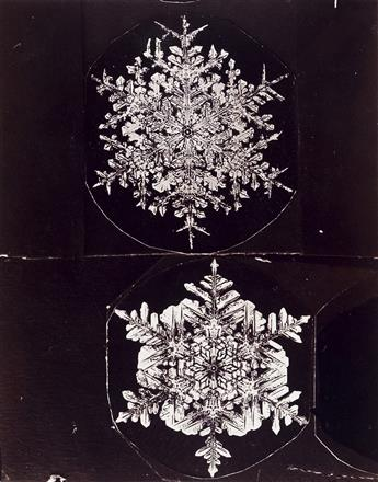 WILSON A. SNOWFLAKE BENTLEY (1865-1931) A group of 5 photographs, comprising 3 double studies and 2 singles of crystalline snowflakes