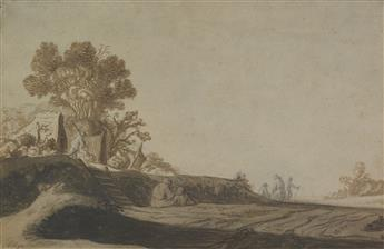 PIETER DE MOLIJN (CIRCLE OF) (London 1595-1661 Haarlem) A Landscape with Travelers Resting and Walking on a Road.