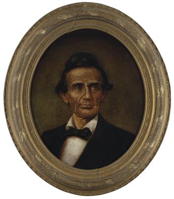 (PAINTINGS.) [Wolfe, John C., artist (attributed to).] Portrait of the beardless Lincoln as he appeared in June 1860.