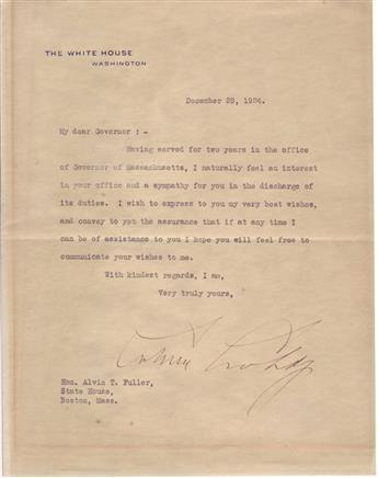 COOLIDGE, CALVIN. Typed Letter Signed, as President, to Governor-Elect Alvin T. Fuller,