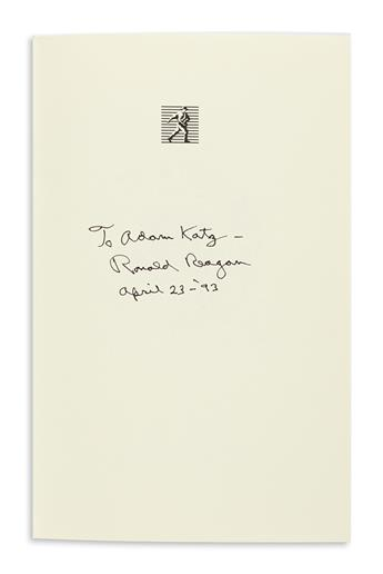 REAGAN, RONALD. Speaking My Mind. Signed and Inscribed, To Adam Katz / Ronald Reagan / April 23--93,