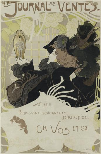 GEORGES DE FEURE (1868-1943). LE JOURNAL DES VENTES. 1897. 24x16 inches, 61x41 cm. Le Mercier, Paris.
