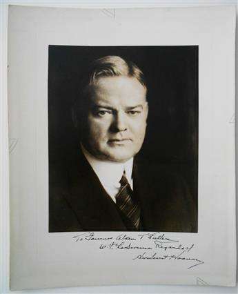 HOOVER, HERBERT. Photograph Signed and Inscribed, To Governor Alvan T. Fuller / With the Sincere Regards of / Herbert Hoover,
