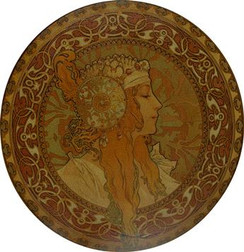 DAPRÈS ALPHONSE MUCHA (1860-1939). [TÊTES BYZANTINES.] Two decorative metal plates. Circa 1900. Each with a diameter of 16 inches, 40