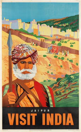 DESIGNER UNKNOWN. VISIT INDIA / JAIPUR. 39x24 inches, 99x61 cm. Survey of India Offices, Dehra Dun.