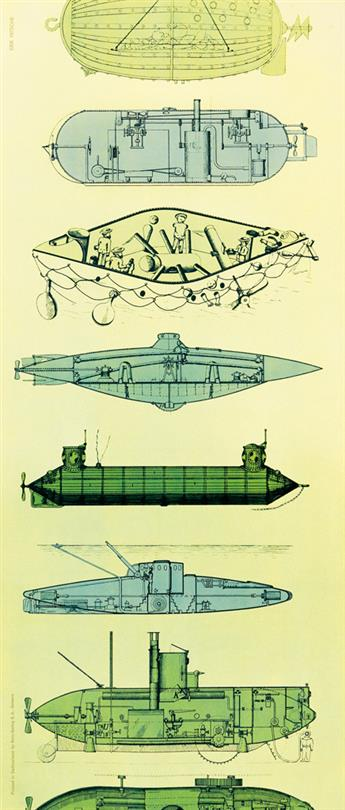 ERIK NITSCHE (1908-1998). [HISTORICAL SUBMARINES.] Circa 1958. 15x35 inches, 38x90 cm. Roto-Sadag, Geneva.