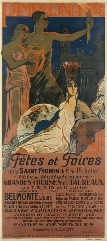 MANUEL LEÓN ASTRUC (1889-1965). PAMPLONA FÊTES ET FOIRES. 1926. 104x47 inches, 264x119 cm. S. Dudá, Valencia.