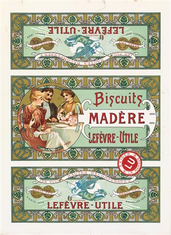 ALPHONSE MUCHA (1860-1939). BISCUITS MADÈRE / LEFÈVRE - UTILE. Biscuit tin label. 1909. 12x8 inches, 30x22 cm.