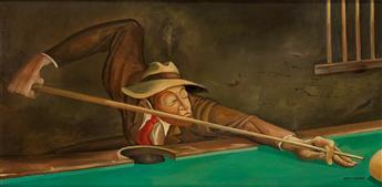 ERNIE BARNES (1938 - 2009) Playing Pool.