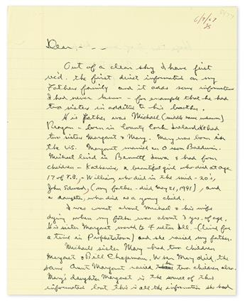 REAGAN, RONALD. Autograph Letter Signed, RR, as Governor, to Dear . . . [intended for two recipients: Ruby Reagan Lord and Richard