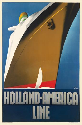WILLEM FREDERICK TEN BROEK (1905-1993). HOLLAND - AMERICA LINE. 1936. 38x25 inches, 96x63 cm. Joh. Enschede en Zonen, Haarlem.