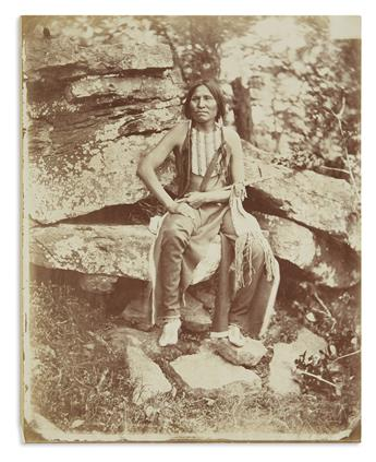 (AMERICAN INDIANS--PHOTOGRAPHS.) Hillers, John K.; photographer. Portrait of Little Bear of the Cheyennes.