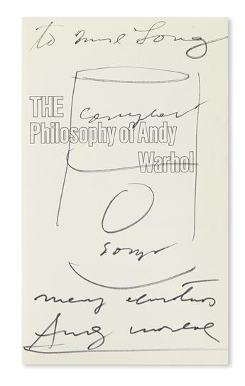WARHOL, ANDY. The Philosophy of Andy Warhol. Signed and Inscribed, Merry Christmas, to Ms. Long, with a drawing of a soup can,