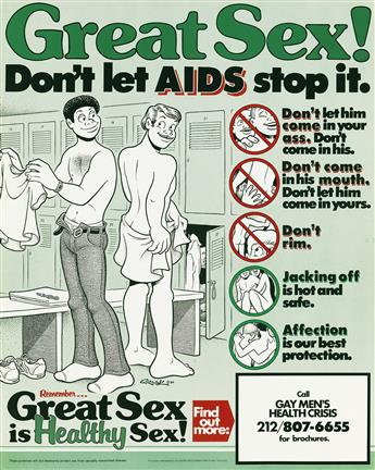 HOWARD CRUSE (1944-)  Great Sex! Dont Let AIDS Stop It / Great Sex is Healthy Sex!