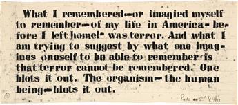 GLENN LIGON (1960 -   ) Untitled (My Life in America).