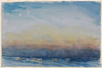 JOSEPH PENNELL New York Harbor, Sunset.
