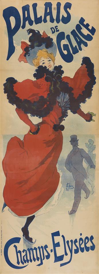 JULES CHÉRET (1836-1932). PALAIS DE GLACE / CHAMPS - ELYSÉES. 1894. 96x34 inches, 244x86 cm. Chaix, Paris.