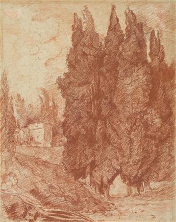 JEAN ROBERT ANGO (France, active circa 1759-circa 1773) An Italianate Landscape with Cypress Trees.