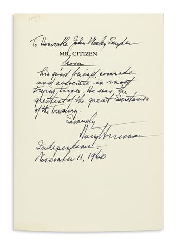 TRUMAN, HARRY S. Mr. Citizen. Signed and Inscribed, on the half-title: