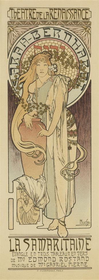 ALPHONSE MUCHA (1860-1939). SARAH - BERNHARDT / LA SAMARITAINE. Maîtres de lAffiche pl. 166. 1899. 15x11 inches, 40x28 cm. Chaix, Pari