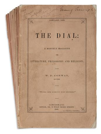 [EMERSON, RALPH WALDO.] Conway, M.D. (editor). The Dial: A Monthly Magazine for Literature, Philosophy and Religion.