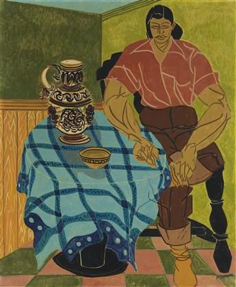HARTWELL YEARGANS (1915 - 2005) Untitled (Seated Woman with Pitcher).