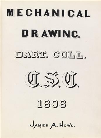 (ARTISTS MANUAL / DARTMOUTH.) Two late-19th-century student drawing books by a James A. Howe of Dartmouth College.